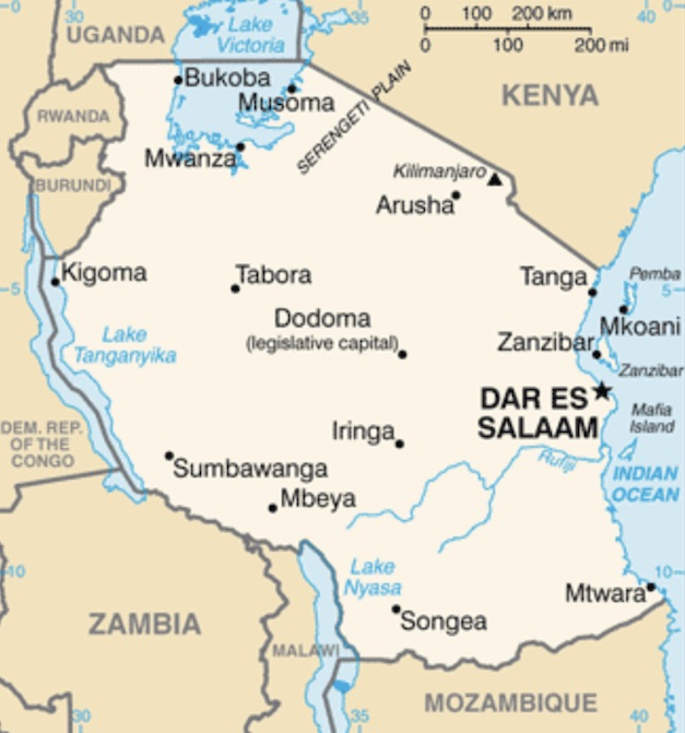 picture of tanzania map