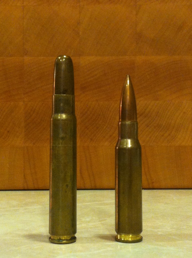A 9.3x62mm cartridge (L) compared to a 7.62x51mm (R)
