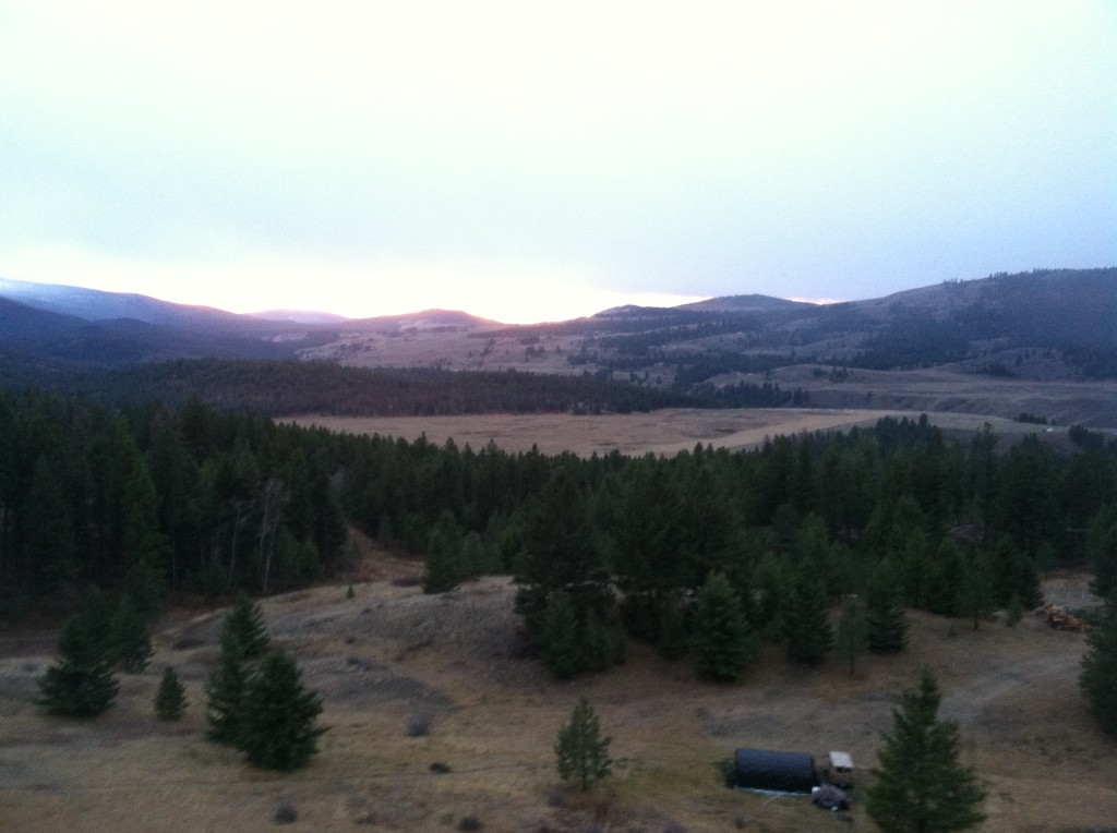 grouse hunt view sunset