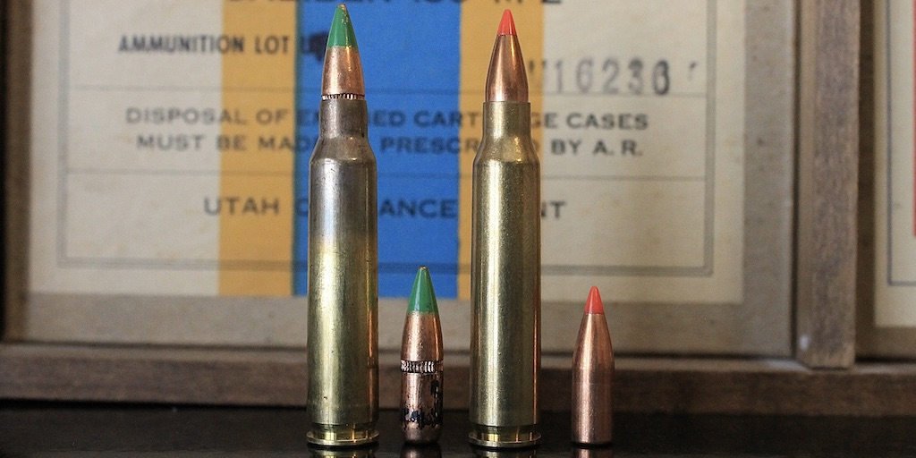 picture of 223 vs 5.56 bullets