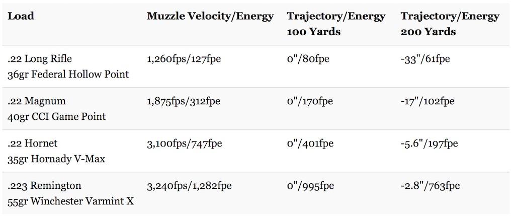22 hornet trajectory