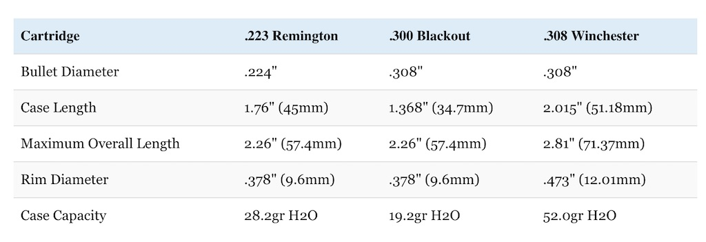 5.56 vs 300 Blackout vs 308 Winchester cartridge size