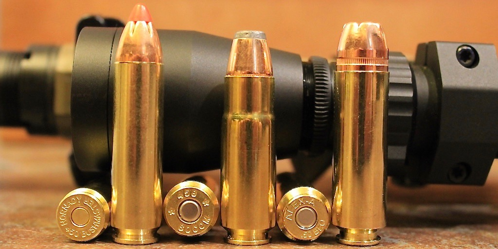 picture of 450 Bushmaster vs 458 SOCOM vs 50 Beowulf cartridge size
