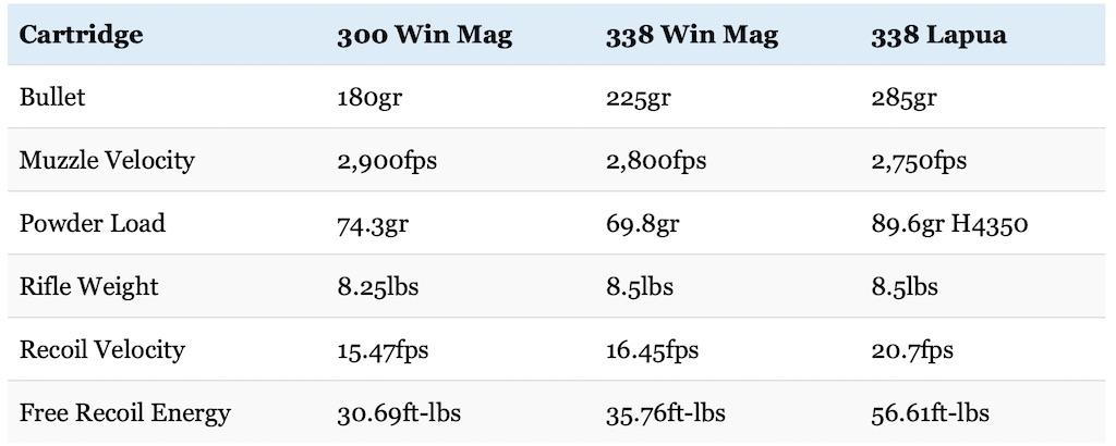 picture of 300 Win Mag vs 338 Lapua vs 338 Win Mag recoil