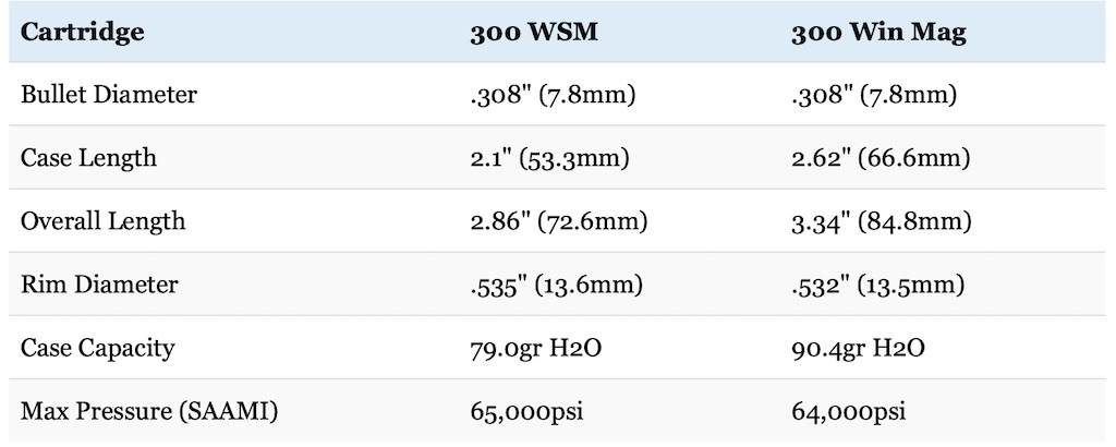 picture of 300 wsm vs 300 win mag cartridge size